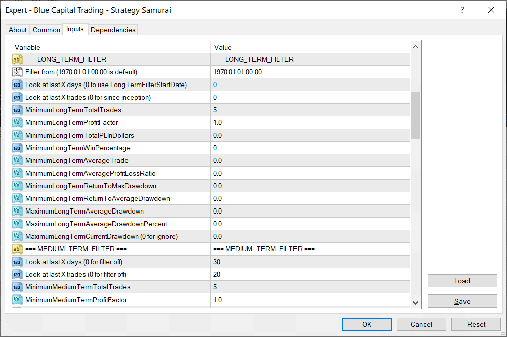 Available settings for Strategy Samurai